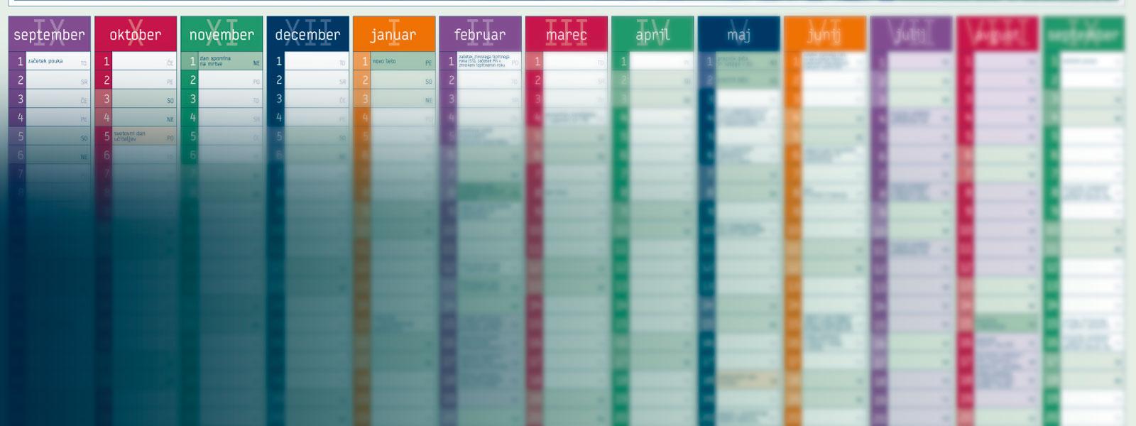 Šolski koledar 2015/16